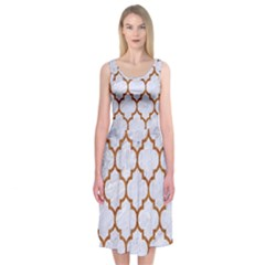 TILE1 WHITE MARBLE & RUSTED METAL (R) Midi Sleeveless Dress