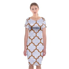 Tile1 White Marble & Rusted Metal (r) Classic Short Sleeve Midi Dress by trendistuff
