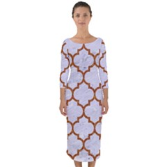 TILE1 WHITE MARBLE & RUSTED METAL (R) Quarter Sleeve Midi Bodycon Dress
