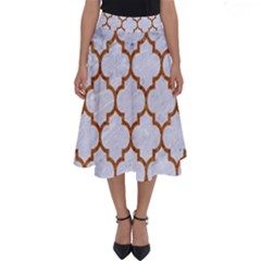 TILE1 WHITE MARBLE & RUSTED METAL (R) Perfect Length Midi Skirt