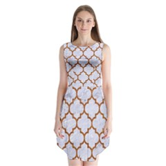 TILE1 WHITE MARBLE & RUSTED METAL (R) Sleeveless Chiffon Dress