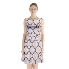 TILE1 WHITE MARBLE & RUSTED METAL (R) Sleeveless Waist Tie Chiffon Dress