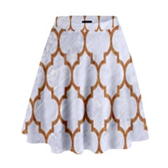 TILE1 WHITE MARBLE & RUSTED METAL (R) High Waist Skirt