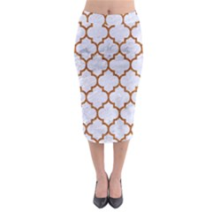 TILE1 WHITE MARBLE & RUSTED METAL (R) Midi Pencil Skirt