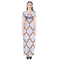 TILE1 WHITE MARBLE & RUSTED METAL (R) Short Sleeve Maxi Dress