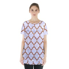 TILE1 WHITE MARBLE & RUSTED METAL (R) Skirt Hem Sports Top