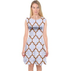 TILE1 WHITE MARBLE & RUSTED METAL (R) Capsleeve Midi Dress