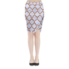TILE1 WHITE MARBLE & RUSTED METAL (R) Midi Wrap Pencil Skirt