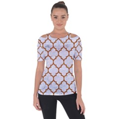 TILE1 WHITE MARBLE & RUSTED METAL (R) Short Sleeve Top