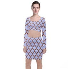 TILE1 WHITE MARBLE & RUSTED METAL (R) Long Sleeve Crop Top & Bodycon Skirt Set