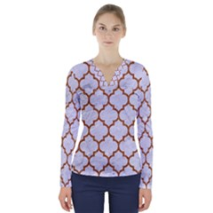 TILE1 WHITE MARBLE & RUSTED METAL (R) V-Neck Long Sleeve Top