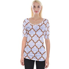TILE1 WHITE MARBLE & RUSTED METAL (R) Wide Neckline Tee