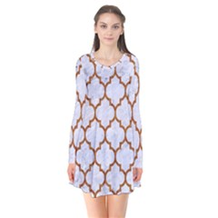 TILE1 WHITE MARBLE & RUSTED METAL (R) Flare Dress