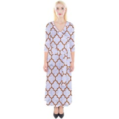 TILE1 WHITE MARBLE & RUSTED METAL (R) Quarter Sleeve Wrap Maxi Dress