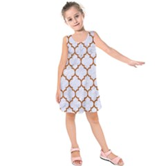 TILE1 WHITE MARBLE & RUSTED METAL (R) Kids  Sleeveless Dress