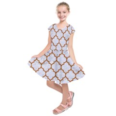 TILE1 WHITE MARBLE & RUSTED METAL (R) Kids  Short Sleeve Dress