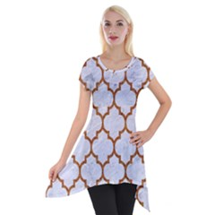 TILE1 WHITE MARBLE & RUSTED METAL (R) Short Sleeve Side Drop Tunic