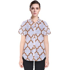 TILE1 WHITE MARBLE & RUSTED METAL (R) Women s Short Sleeve Shirt