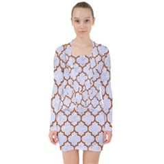 TILE1 WHITE MARBLE & RUSTED METAL (R) V-neck Bodycon Long Sleeve Dress