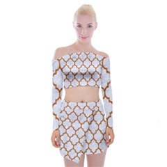 TILE1 WHITE MARBLE & RUSTED METAL (R) Off Shoulder Top with Mini Skirt Set