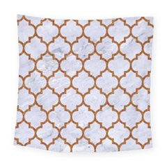 TILE1 WHITE MARBLE & RUSTED METAL (R) Square Tapestry (Large)