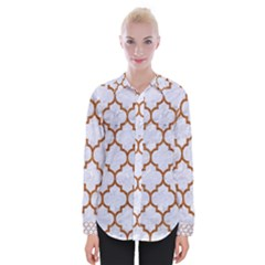 TILE1 WHITE MARBLE & RUSTED METAL (R) Womens Long Sleeve Shirt