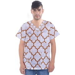 TILE1 WHITE MARBLE & RUSTED METAL (R) Men s V-Neck Scrub Top