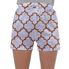 TILE1 WHITE MARBLE & RUSTED METAL (R) Sleepwear Shorts