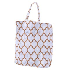 TILE1 WHITE MARBLE & RUSTED METAL (R) Giant Grocery Zipper Tote