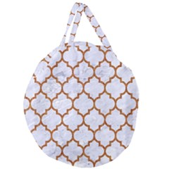 TILE1 WHITE MARBLE & RUSTED METAL (R) Giant Round Zipper Tote
