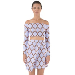 TILE1 WHITE MARBLE & RUSTED METAL (R) Off Shoulder Top with Skirt Set