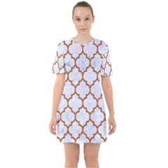 TILE1 WHITE MARBLE & RUSTED METAL (R) Sixties Short Sleeve Mini Dress