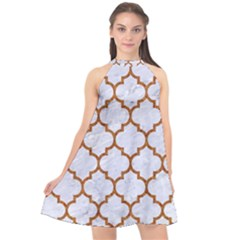 TILE1 WHITE MARBLE & RUSTED METAL (R) Halter Neckline Chiffon Dress