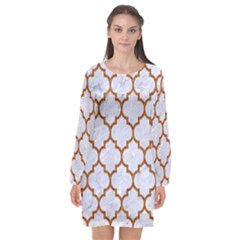 TILE1 WHITE MARBLE & RUSTED METAL (R) Long Sleeve Chiffon Shift Dress