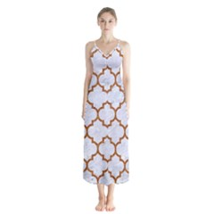 TILE1 WHITE MARBLE & RUSTED METAL (R) Button Up Chiffon Maxi Dress