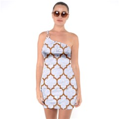 TILE1 WHITE MARBLE & RUSTED METAL (R) One Soulder Bodycon Dress