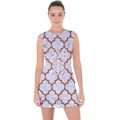 TILE1 WHITE MARBLE & RUSTED METAL (R) Lace Up Front Bodycon Dress