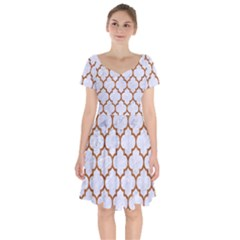 TILE1 WHITE MARBLE & RUSTED METAL (R) Short Sleeve Bardot Dress