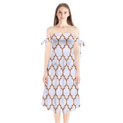 TILE1 WHITE MARBLE & RUSTED METAL (R) Shoulder Tie Bardot Midi Dress