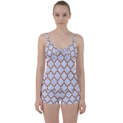 TILE1 WHITE MARBLE & RUSTED METAL (R) Tie Front Two Piece Tankini