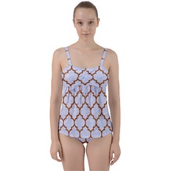 TILE1 WHITE MARBLE & RUSTED METAL (R) Twist Front Tankini Set