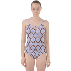 TILE1 WHITE MARBLE & RUSTED METAL (R) Cut Out Top Tankini Set