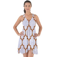 TILE1 WHITE MARBLE & RUSTED METAL (R) Show Some Back Chiffon Dress