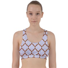 TILE1 WHITE MARBLE & RUSTED METAL (R) Back Weave Sports Bra