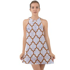 TILE1 WHITE MARBLE & RUSTED METAL (R) Halter Tie Back Chiffon Dress