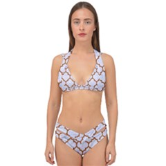 TILE1 WHITE MARBLE & RUSTED METAL (R) Double Strap Halter Bikini Set