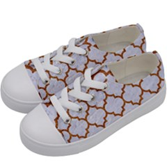 TILE1 WHITE MARBLE & RUSTED METAL (R) Kids  Low Top Canvas Sneakers