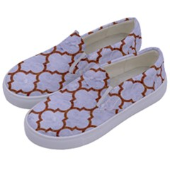 TILE1 WHITE MARBLE & RUSTED METAL (R) Kids  Canvas Slip Ons