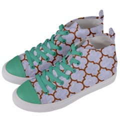 TILE1 WHITE MARBLE & RUSTED METAL (R) Women s Mid-Top Canvas Sneakers