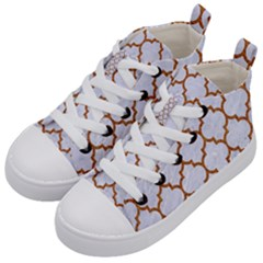 TILE1 WHITE MARBLE & RUSTED METAL (R) Kid s Mid-Top Canvas Sneakers